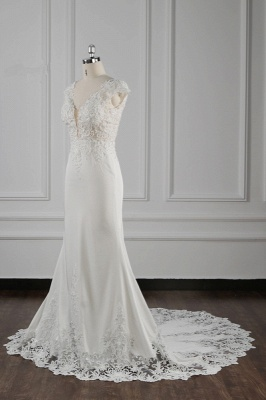 Graceful Sleeveless Tulle Sequins Mermaid Wedding Dresses With Lace Appliques_3