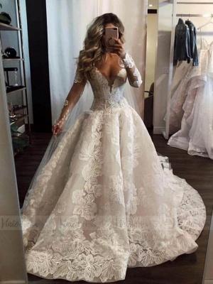 Sexy V Neck Long Sleeve Floral A Line Wedding Dresses_2