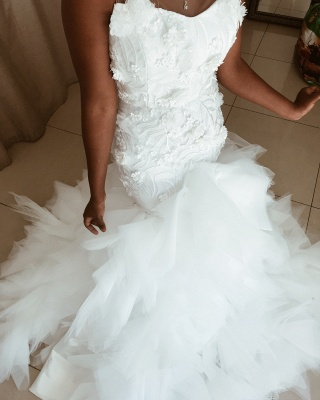 African Jewel Floral Mermaid Wedding Dresses | Sheer Ruffles Fitted Wedding Gown_3