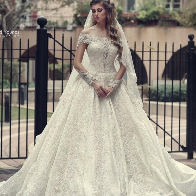 Off The Shoulder Lace A Line Wedding Dresses | Long Sleeve Wedding Gown_2