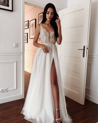 Spaghetti Strap Deep V Neck Applique Front Slit Tulle A Line Wedding Dresses_2