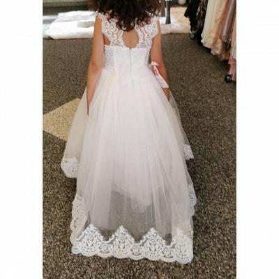 Lovely Jewel Cap Sleeve keyhole Back Applique A Line Flower Girl Dresses_3