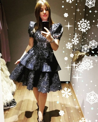Luxury Short Sleeves Black Satin Lace Ruffles Midi Evening Dresses_2