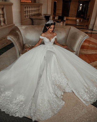 Stunning Sweetheart Off The Shoulder Crystal Sequin Applique Sheath Wedding dresses With Detachable Train_2