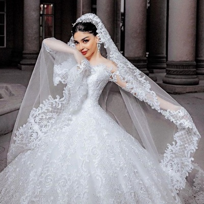 Gorgeous Tulle Lace Ruffles Ball Gown Cathedral Wedding Dresses With Long Sleeves_3