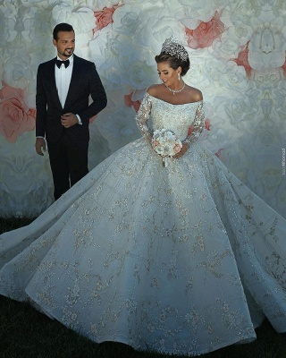 Long Sleeve Off The Shoulder Sweetheart Applique Crystal Ball Gown Wedding Dresses_5