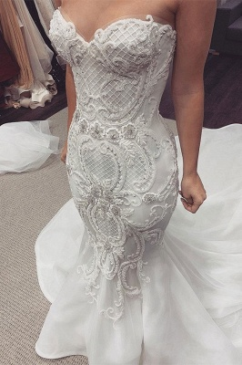 Sexy Sweetheart Backless  Lace Fit And Flare Mermaid Wedding Dresses_1