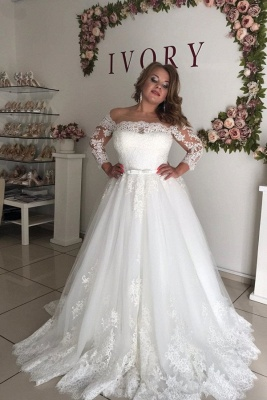 Long Sleeve Off The Shoulder A Line Pleated Tulle A Line Wedding Dresses_1