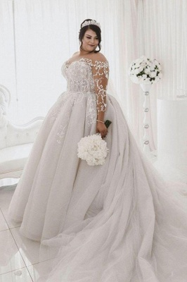 Jewel Lace Appliques Ball Gown Wedding Dresses with Long Sleeves_1
