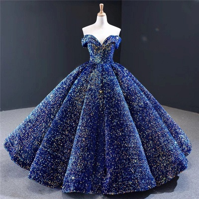 Sparkly Sweetheart Off the Shoulder Ball Gown Prom Dress | Dubai Luxury Bridal Gown_6