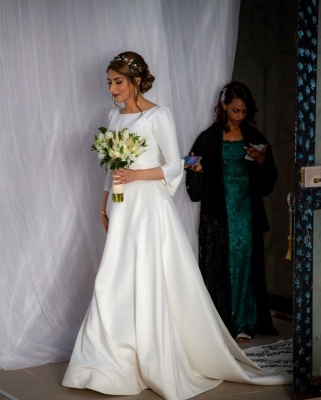 Gorgeous Half Sleeves Satin Ruffles Cathedral wedding Dresses With Bowknot_5