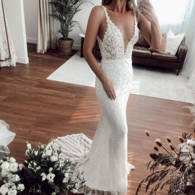 Sexy Straps Applique Crystal Floor Length Fitted Mermaid Wedding Dresses With Detachable Skirt_2