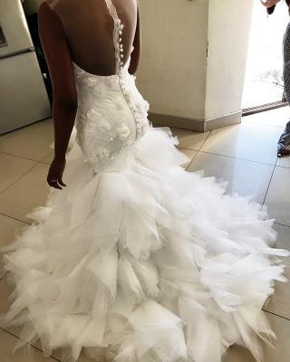 African Jewel Floral Mermaid Wedding Dresses | Sheer Ruffles Fitted Wedding Gown_2