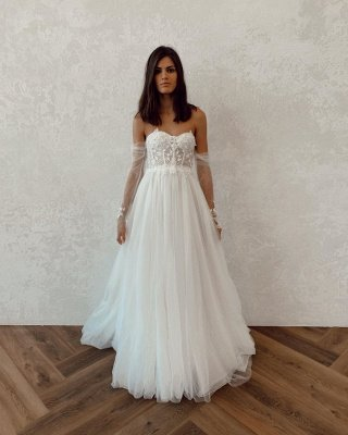 Off The Shoulder Backless Applique Tulle A Line Wedding Dresses