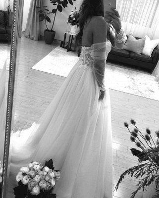 Off The Shoulder Backless Applique Tulle A Line Wedding Dresses_3