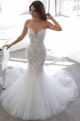 Sexy Sweetheart V Neck Backless Applique Lace Wedding Dress   Fitted Mermaid Gown_1