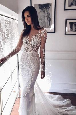 Sparkly Jewel Long Sleeve Applique Crystal Sequin Sash Sheath Floor Length  Tulle A Line Wedding Dresses_1