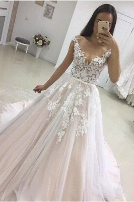 Modern Long A-line Tulle Lace Floor Length Sleeveless Wedding Dress