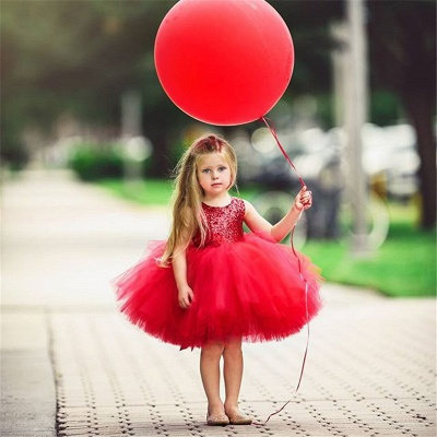 Princess Sequin Ball Gown Flower Girl Dresses | Knee Length Kids Party dresses_7