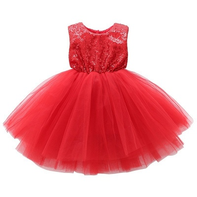 Princess Sequin Ball Gown Flower Girl Dresses | Knee Length Kids Party dresses_5