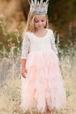 Cute Long Sleeves Jewel Tea Length Lace Tulle Flower Girl Dresses_1
