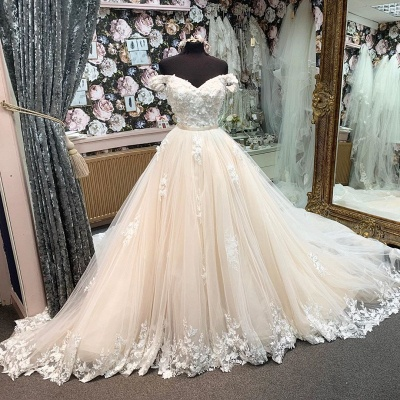 Off The Shoulder Sweethear Backless Applique Pearls Pleated Tulle A Line Wedding Desses_2