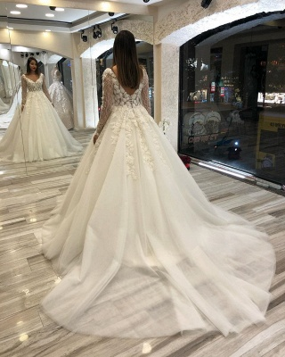 Luxurious Sweetheart V Back Long Sleeve Applique Floral Ball Gown Puffy Wedding Dresses_5