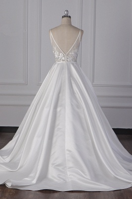 Beautiful Sleek Satin White Appliques Wedding Dresses Long_6