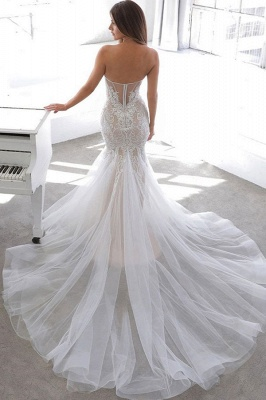 Sexy Sweetheart V Neck Backless Applique Lace Wedding Dress   Fitted Mermaid Gown_3