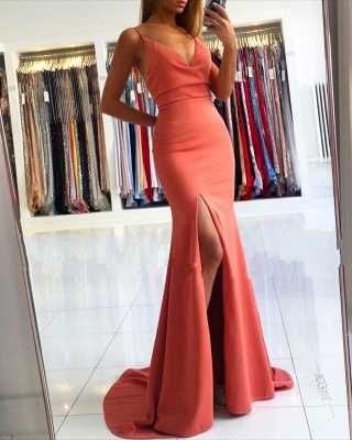 Spaghetti Strap V Neck Side Slit Floor Length Mermaid Prom Dresses_2