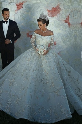 Long Sleeve Off The Shoulder Sweetheart Applique Crystal Ball Gown Wedding Dresses_1