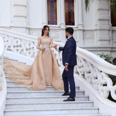 Gorgeous Long Sleeve Applique Detachable Skirt Sheath Wedding Dresses_2