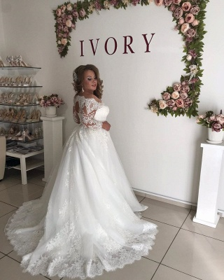 Long Sleeve Off The Shoulder A Line Pleated Tulle A Line Wedding Dresses_2