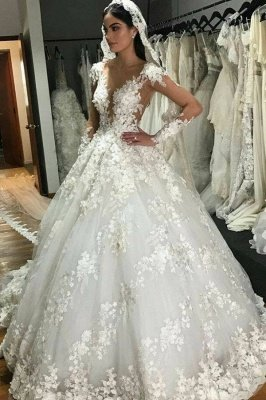 Luxury Jewel Long Sleeve Floral Ball Gown Wedding Dresses | Backless Floor Length Wedding Gown
