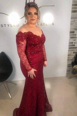 Burgundy Jewel Long Sleeve Applique  Fit And Flare Floor Length Mermaid Prom Dress_1