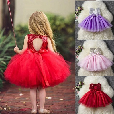Princess Sequin Ball Gown Flower Girl Dresses | Knee Length Kids Party dresses_8