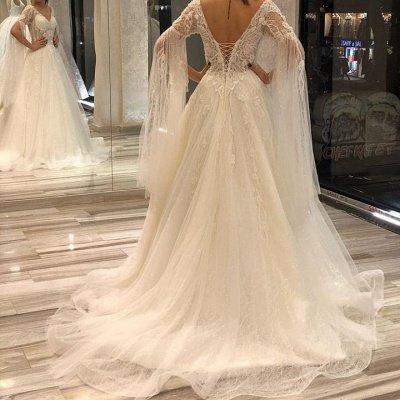 Off The Shoulder V Neck Lace A Line Wedding Dresses | Sequin Wedding gown_3