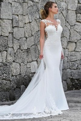 Lace Fitted Wedding Dresses | Jewel Sleeveless Sheath Bridal Gown