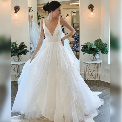 Sexy Straps Deep V Necke A line Wedding Dress | Tulle Wedding Gown_2