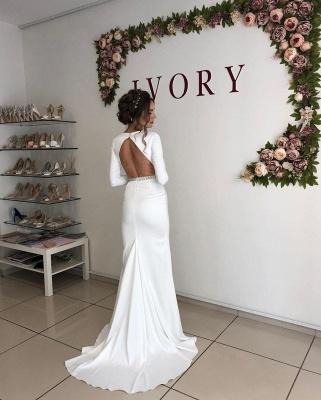 Elegant Long Sleeve Deep V Neck  Beaded Sash Mermaid Wedding dresses   Open Back Bridal Gown_2