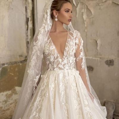 Alluring Deep V Neck Applique Pleats A Line Wedding Dresses | Floral Bridal Gown_3