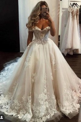 Gorgeous Long A-line Princess Tulle Off-the-shoulder Lace Wedding Dress