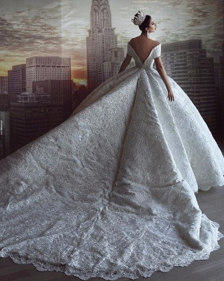 Gorgeous Sweetheart V Back Off The Shoulder Crystal Sequin Applique Pleated Ball Gown Wedding Dresses_4