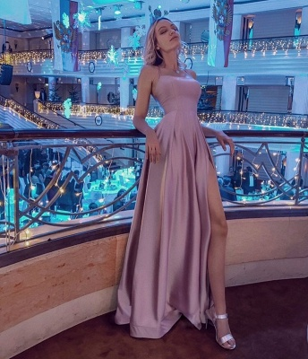 Halter Sleeveless Criss-cross Back Side Slit Floor Length Mermaid Prom Dresses_4