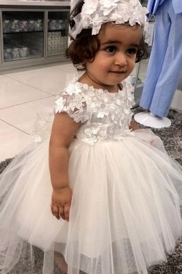 Jewel Short Sleeve Floral Tulle Ball Gown Flower Girl Dresses