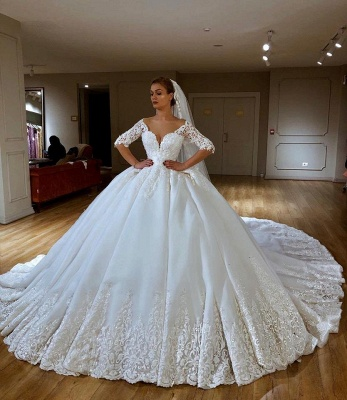 Sweetheart Lace Princess Wedding Dresses with Long Sleeves | Ball Gown Bridal Dress_1