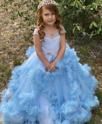Cap Sleeve Jewel Ruffles Beaded Sash Ball Gown Flower Girl Dresses | Sky Blue Pageant  Dresses For Little Girl_2