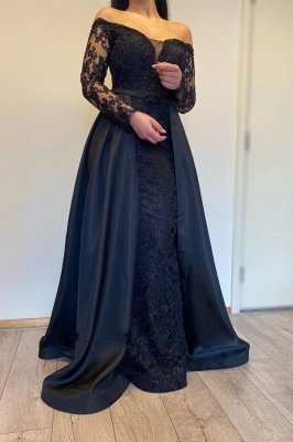 Off The Shoulder Backless  Long  Sleeve Lace Sequin A Line Prom Dresses With Sash_1