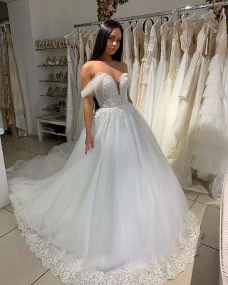Sexy Off The Shoulder Sweetheart Tulle A  Line Wedding Dresses With Pleated_3