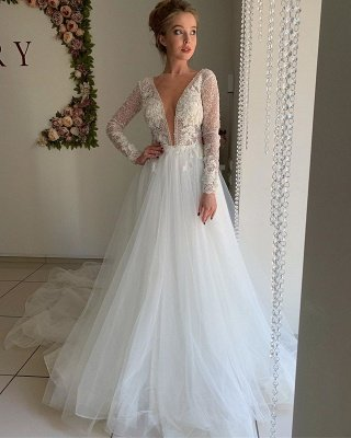 Elegant Long Sleeve Plunging V Neck Applique Flowing Tulle A Line Wedding Dresses_4